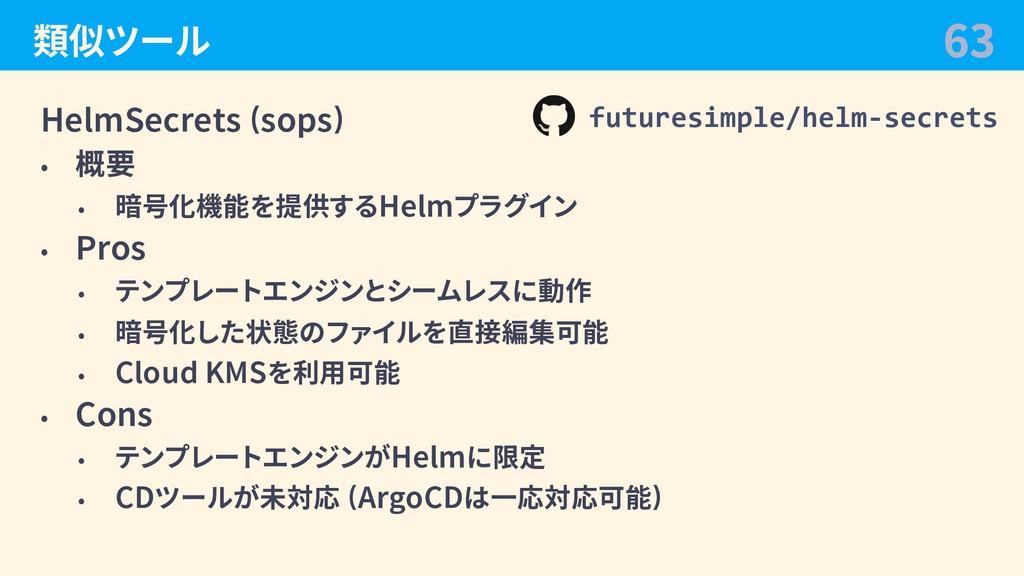 類似ツール HelmSecrets (sops) • 概要 • 暗号化機能を提供するHelmプ...