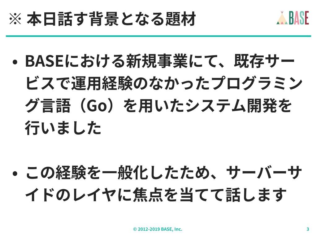 © - BASE, Inc. ※ 本⽇話す背景となる題材 • BASEにおける新規事業にて、既...