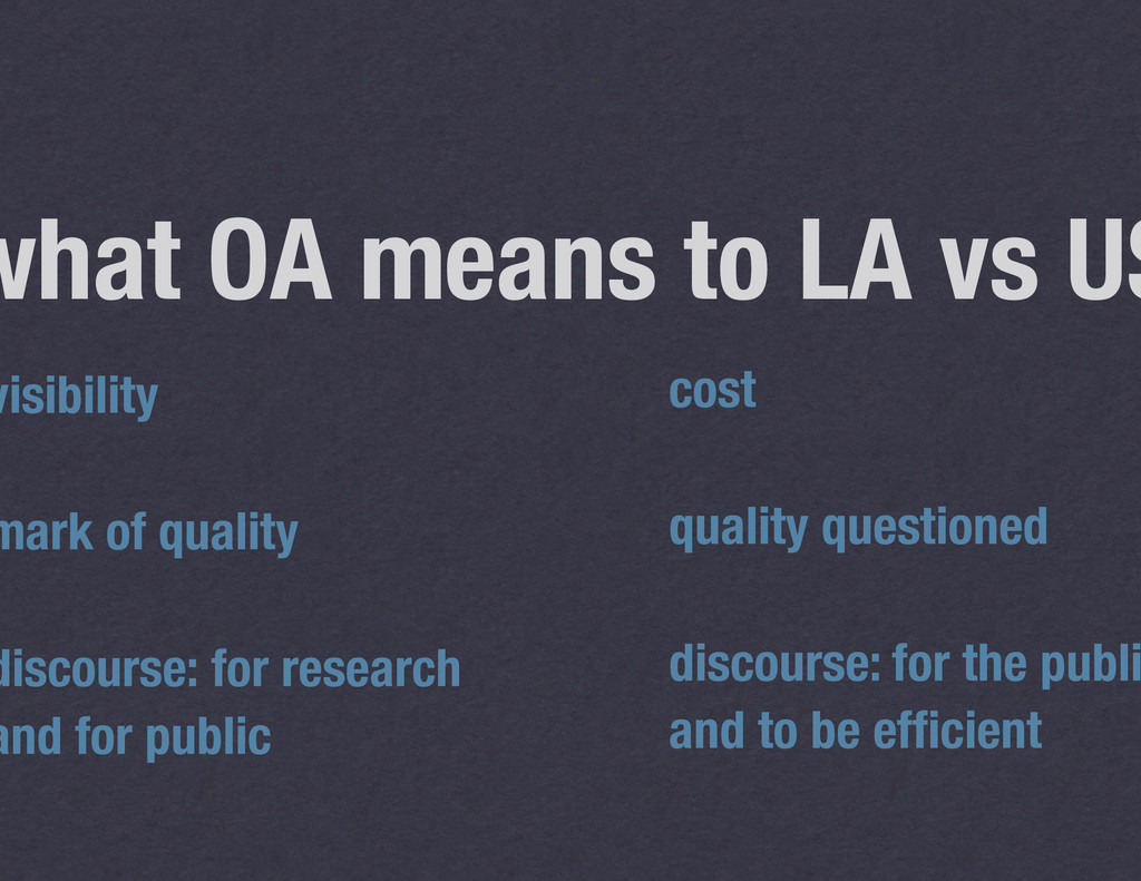 what OA means to LA vs US visibility