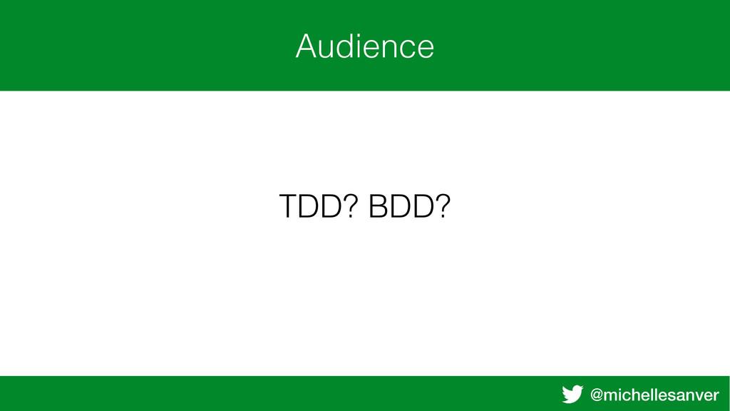 @michellesanver Audience TDD? BDD?