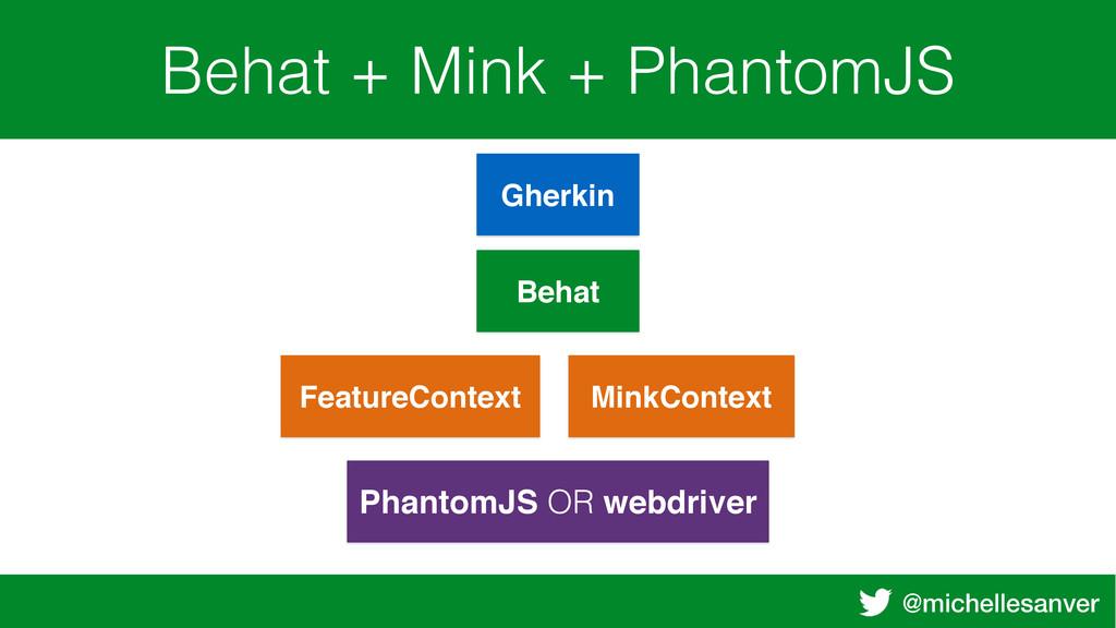 @michellesanver Behat + Mink + PhantomJS Gherki...