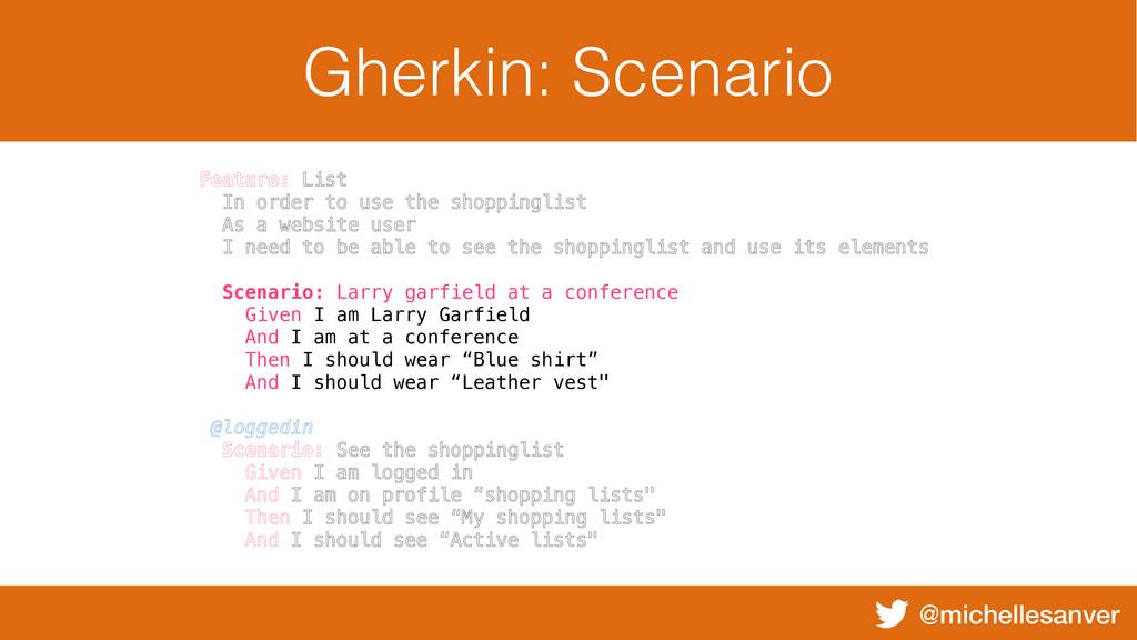 @michellesanver Gherkin: Scenario Feature: List...