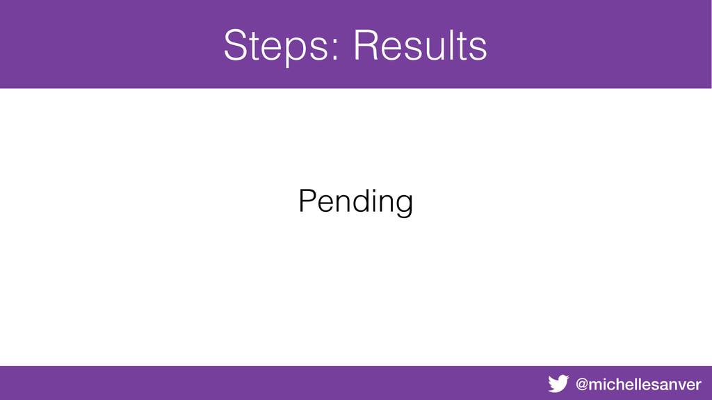 @michellesanver Steps: Results Pending