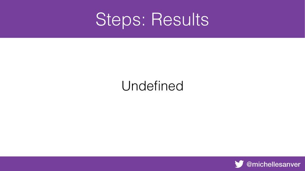 @michellesanver Steps: Results Undefined