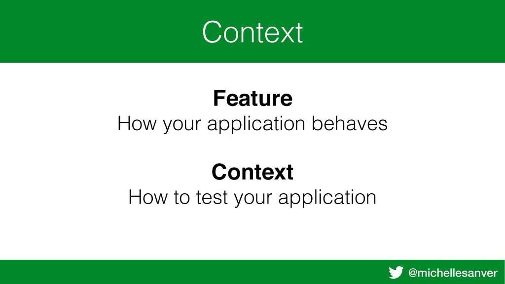 @michellesanver Context Feature How your applic...