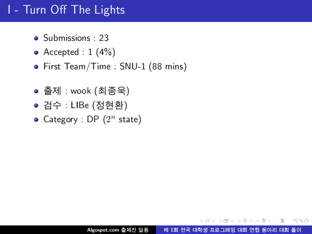 I - Turn Off The Lights Submissions : 23 Accepte...