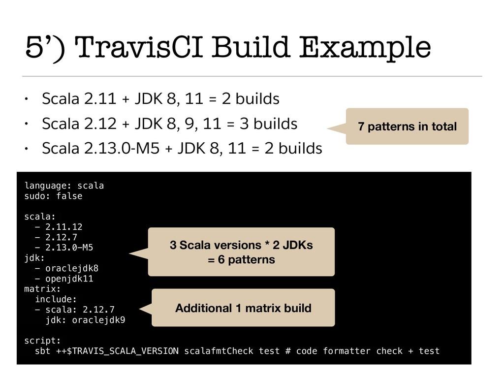 5') TravisCI Build Example language: scala sudo...