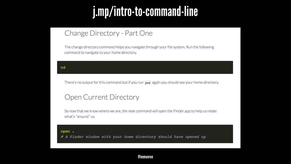 j.mp/intro-to-command-line @leemunroe
