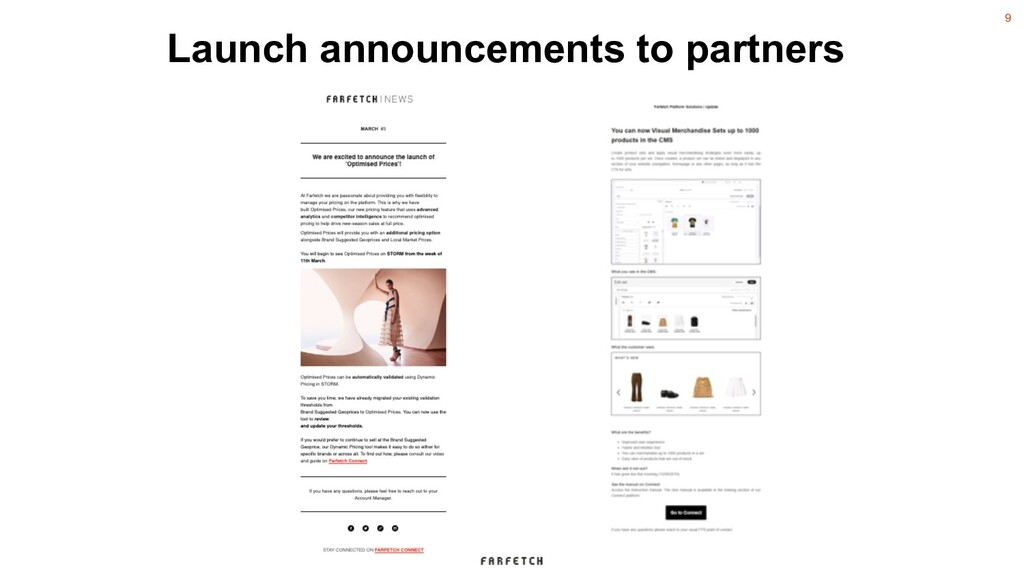 9 Launch announcements to partners