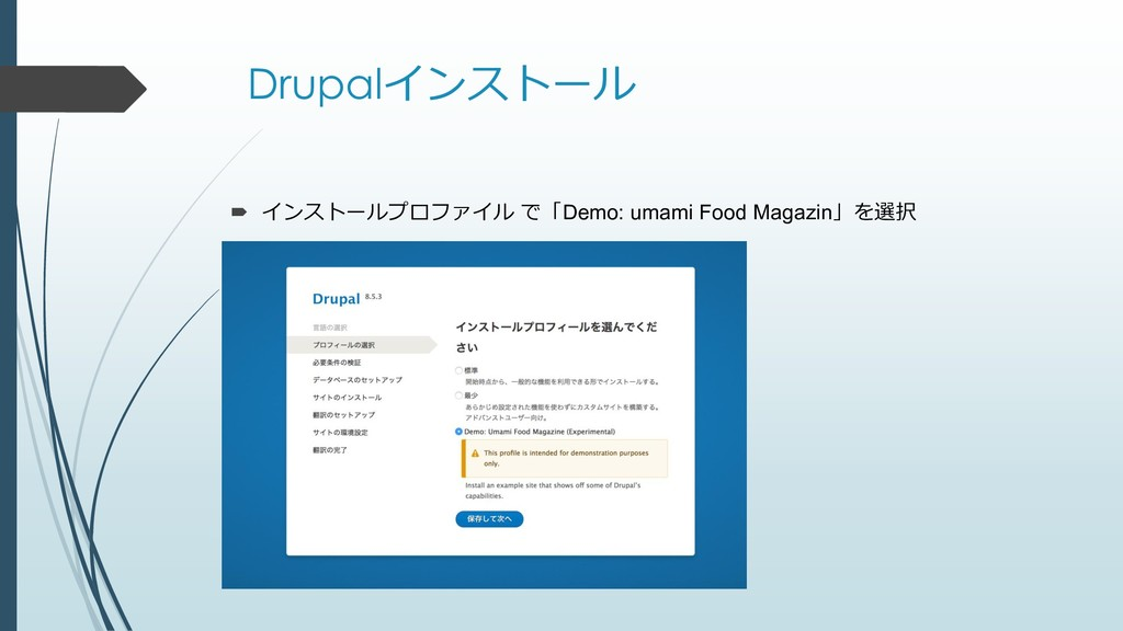 Drupalインストール  インストールプロファイル で「Demo: umami Food ...