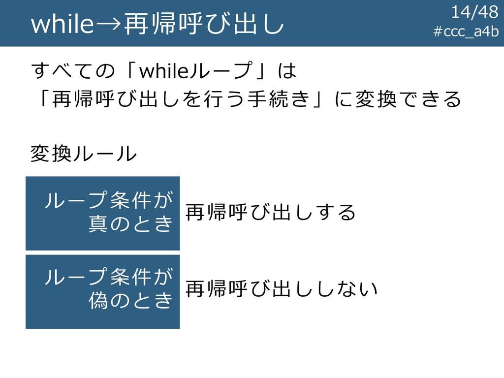 #ccc_a4b while→再帰呼び出し すべての「whileループ」は 「再帰呼び出しを行...