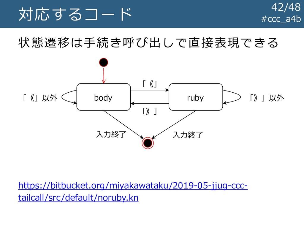 #ccc_a4b 対応するコード 状態遷移は手続き呼び出しで直接表現できる 「《」 「》」 「...