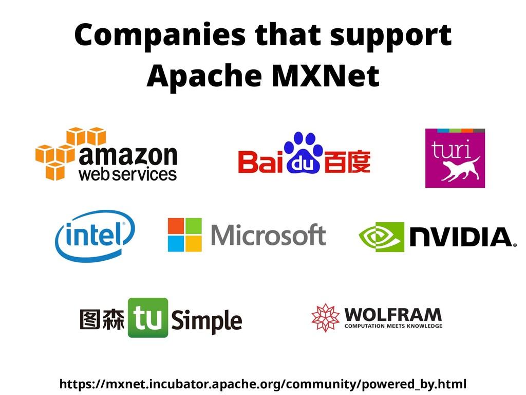 Companies that support Apache MXNet https://mxn...
