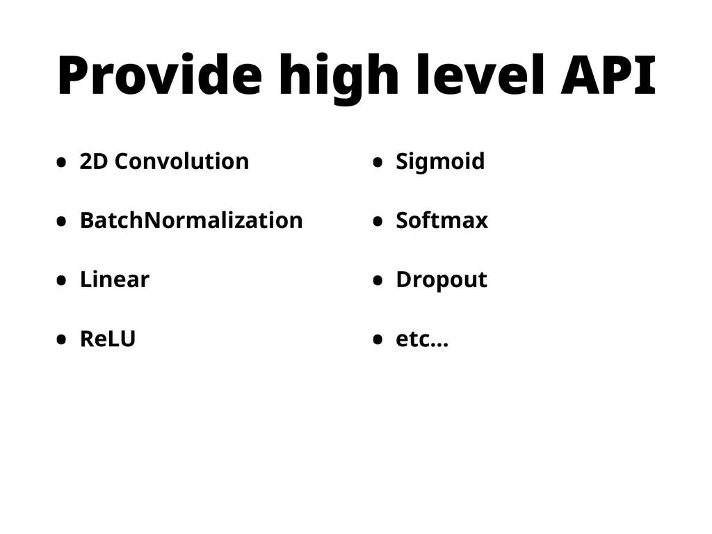 Provide high level API • 2D Convolution • Batch...