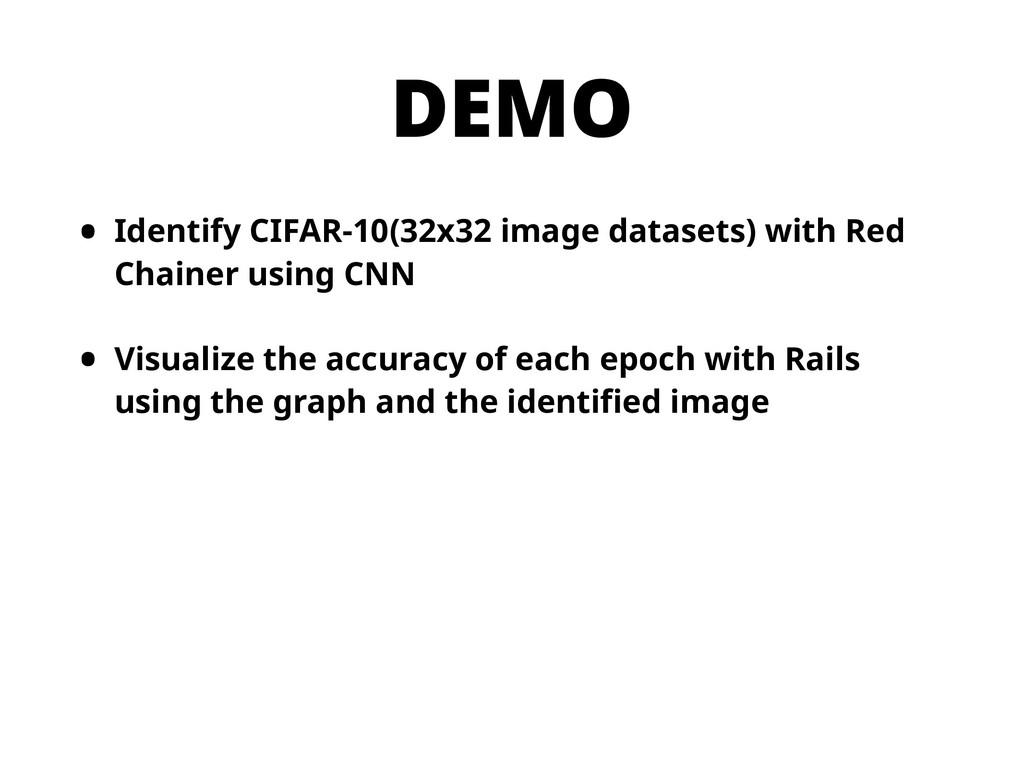 DEMO • Identify CIFAR-10(32x32 image datasets) ...