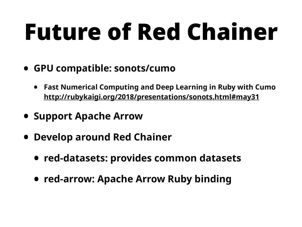 Future of Red Chainer • GPU compatible: sonots/...