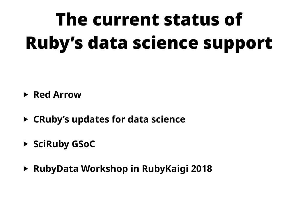 The current status of Ruby's data science supp...