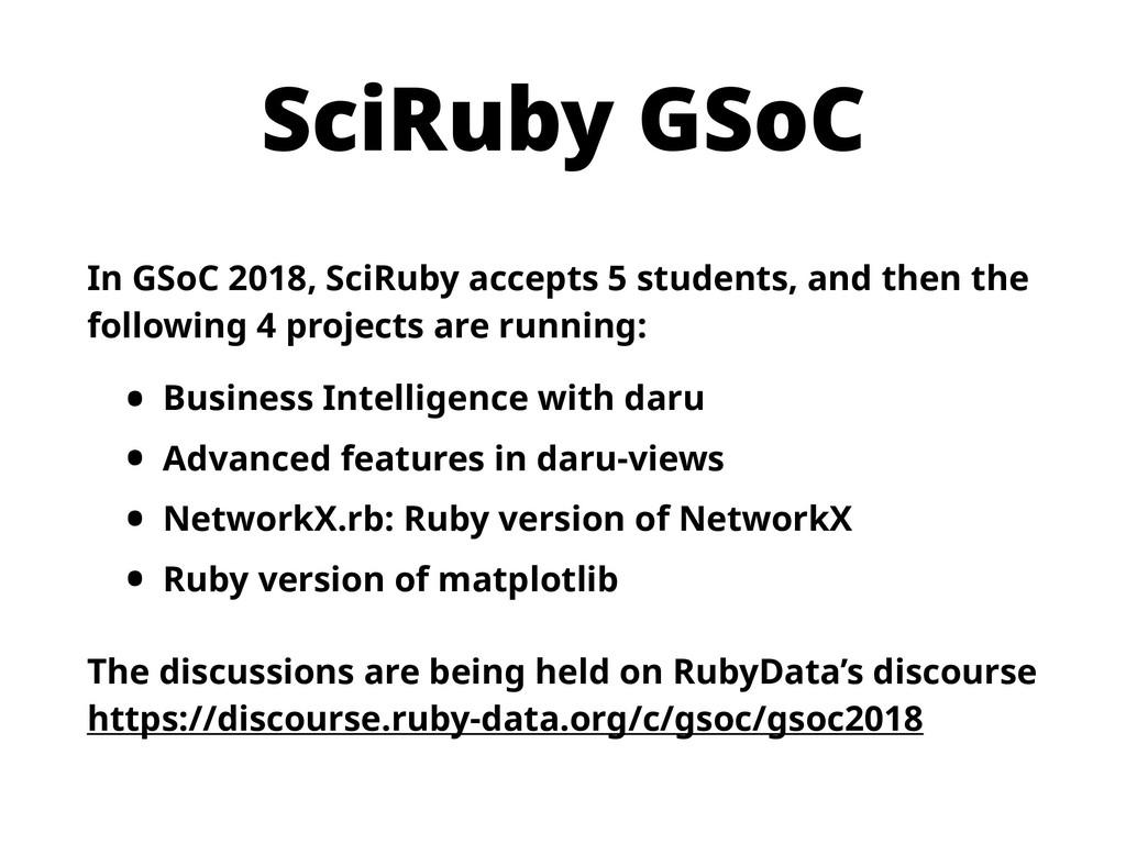 SciRuby GSoC In GSoC 2018, SciRuby accepts 5 st...