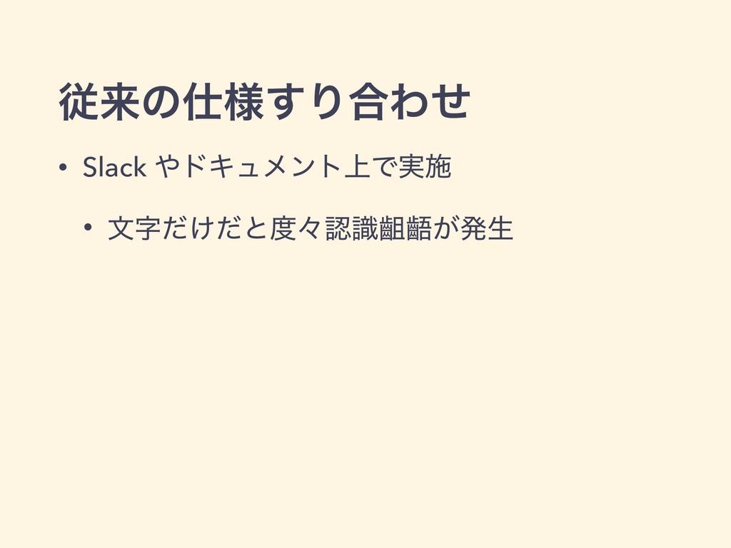 ैདྷͷ༷͢Γ߹Θͤ • Slack υΩϡϝϯτ্Ͱ࣮ࢪ • จ͚ͩͩͱʑࣝᴥᴪ͕ൃੜ