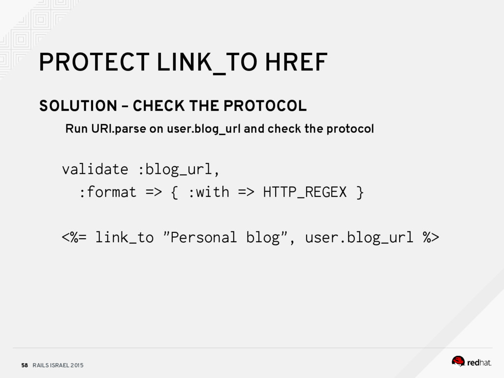 RAILS ISRAEL 2015 58 PROTECT LINK_TO HREF SOLUT...