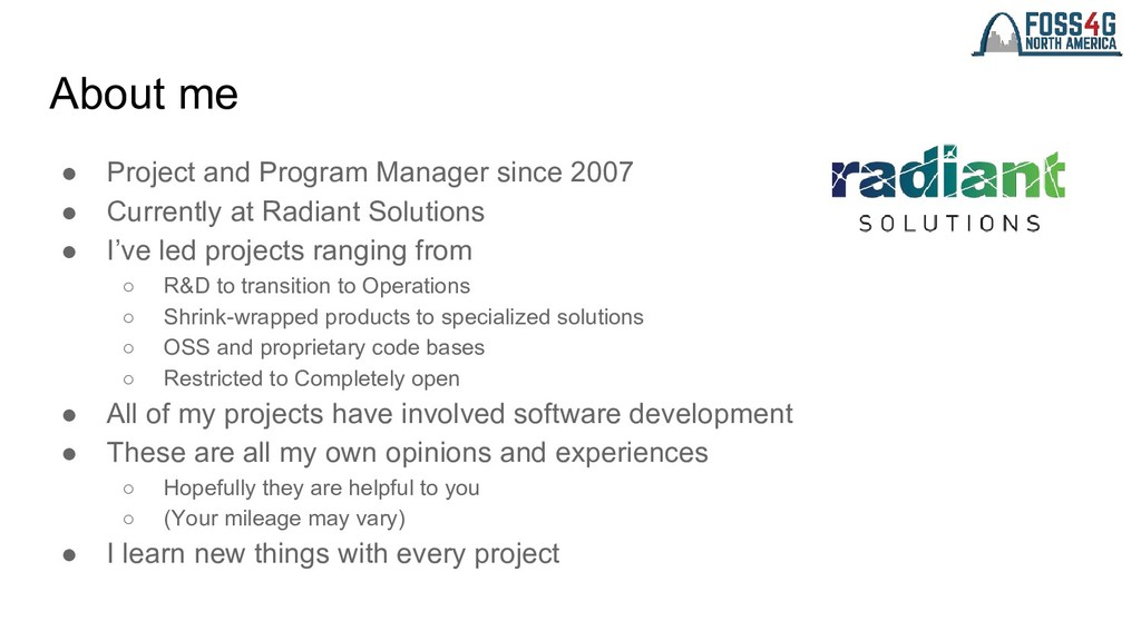 About me ● Project and Program Manager since 20...