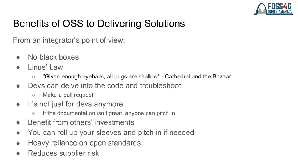 Benefits of OSS to Delivering Solutions From an...