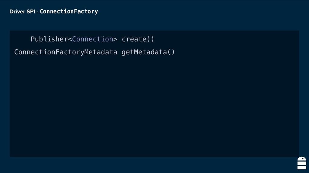 Driver SPI - ConnectionFactory Publisher<Connec...