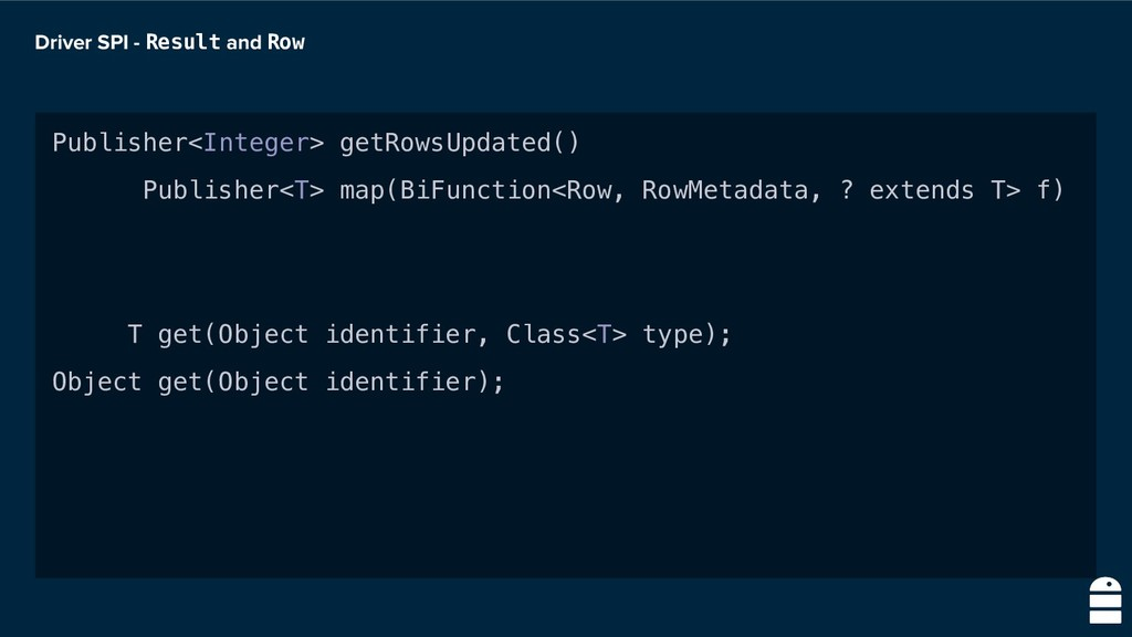 Driver SPI - Result and Row Publisher<Integer> ...