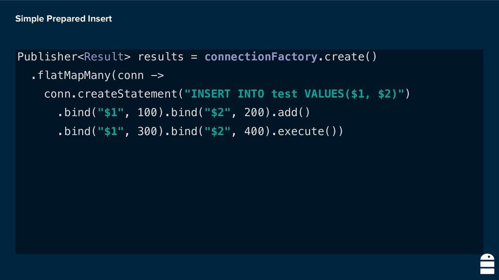 Simple Prepared Insert Publisher<Result> result...