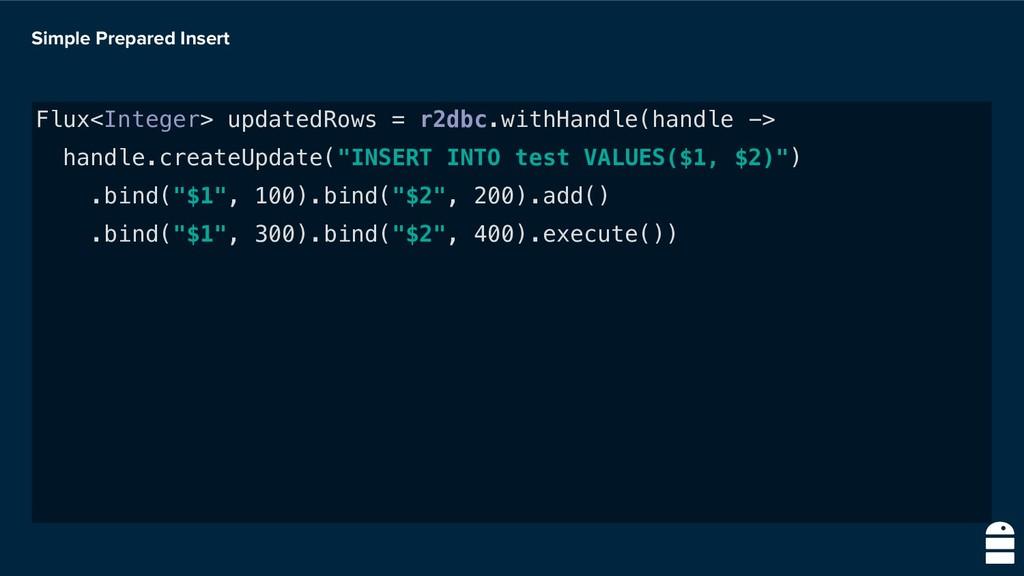 Simple Prepared Insert Flux<Integer> updatedRow...