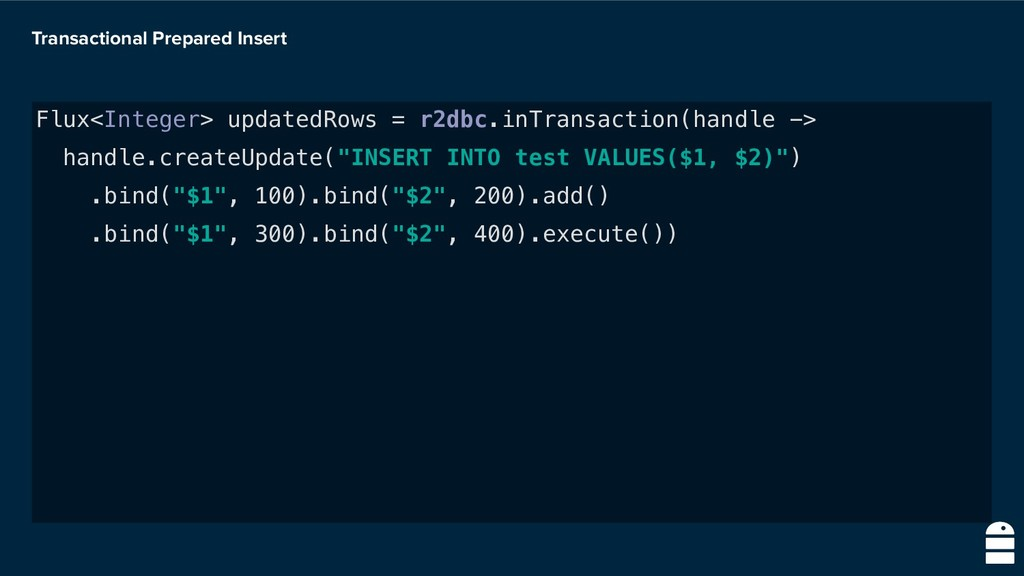 Transactional Prepared Insert Flux<Integer> upd...