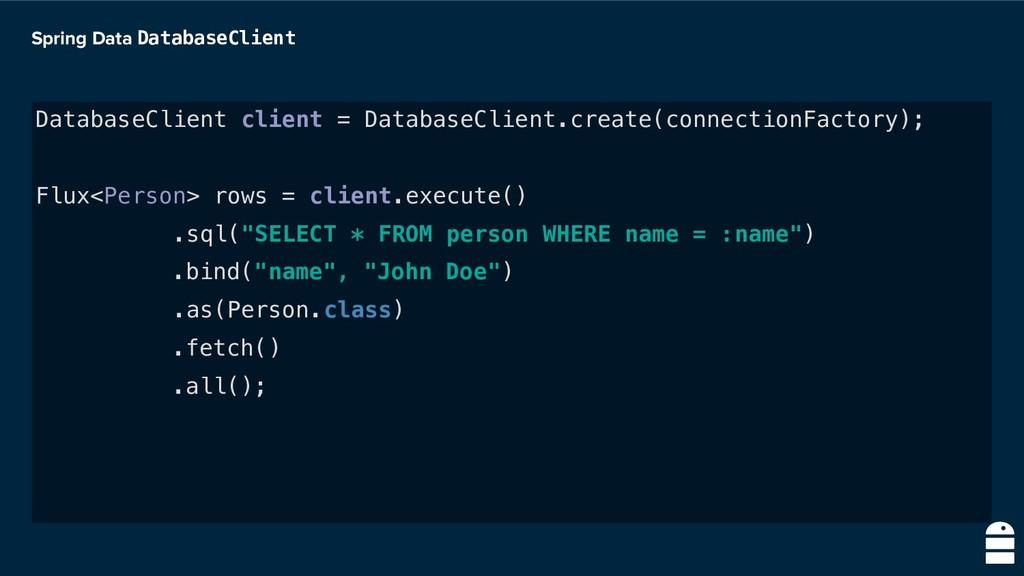 Spring Data DatabaseClient DatabaseClient clien...