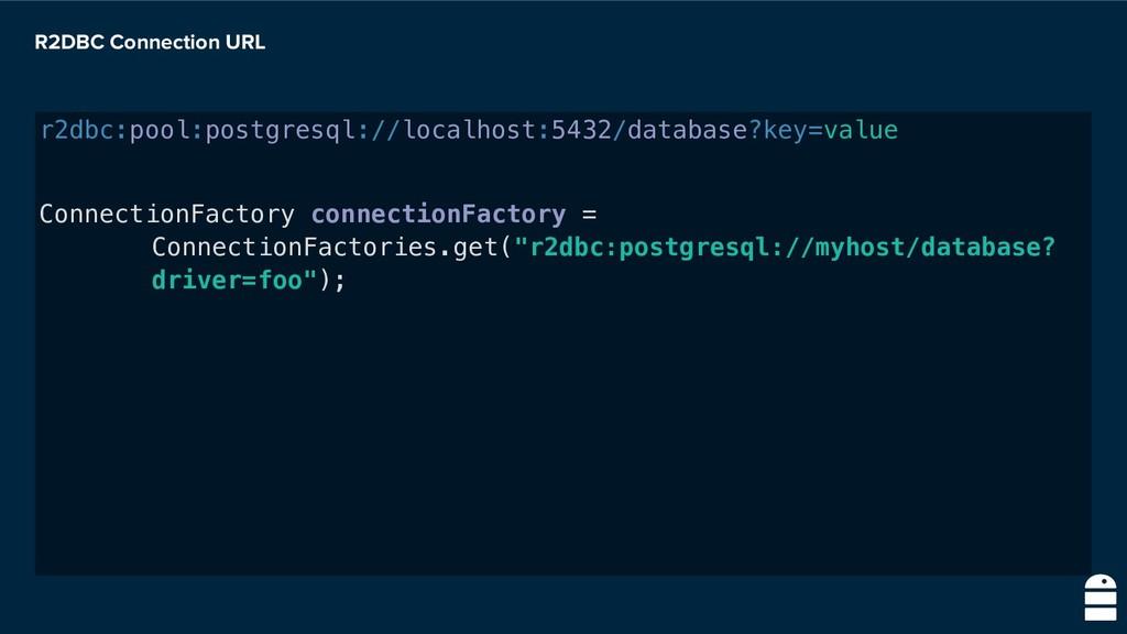 R2DBC Connection URL r2dbc:pool:postgresql://lo...