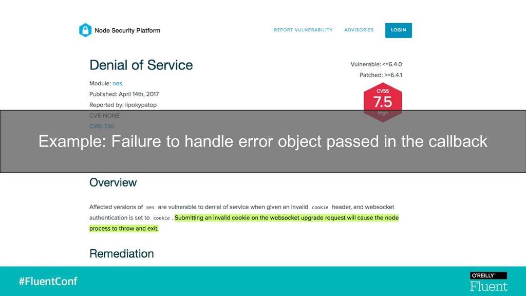 Example: Failure to handle error object passed ...