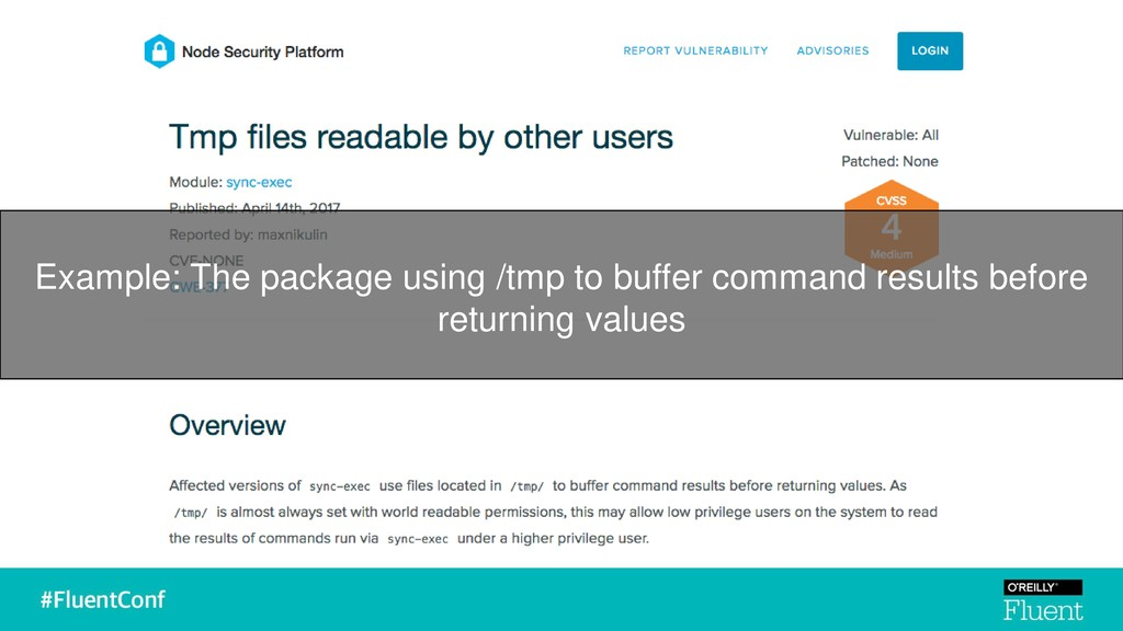 Example: The package using /tmp to buffer comma...
