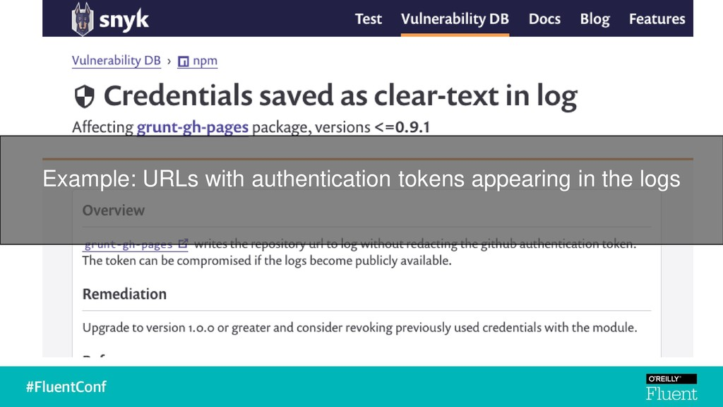 Example: URLs with authentication tokens appear...