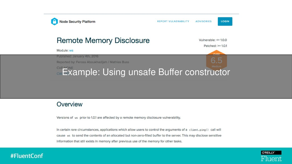 Example: Using unsafe Buffer constructor