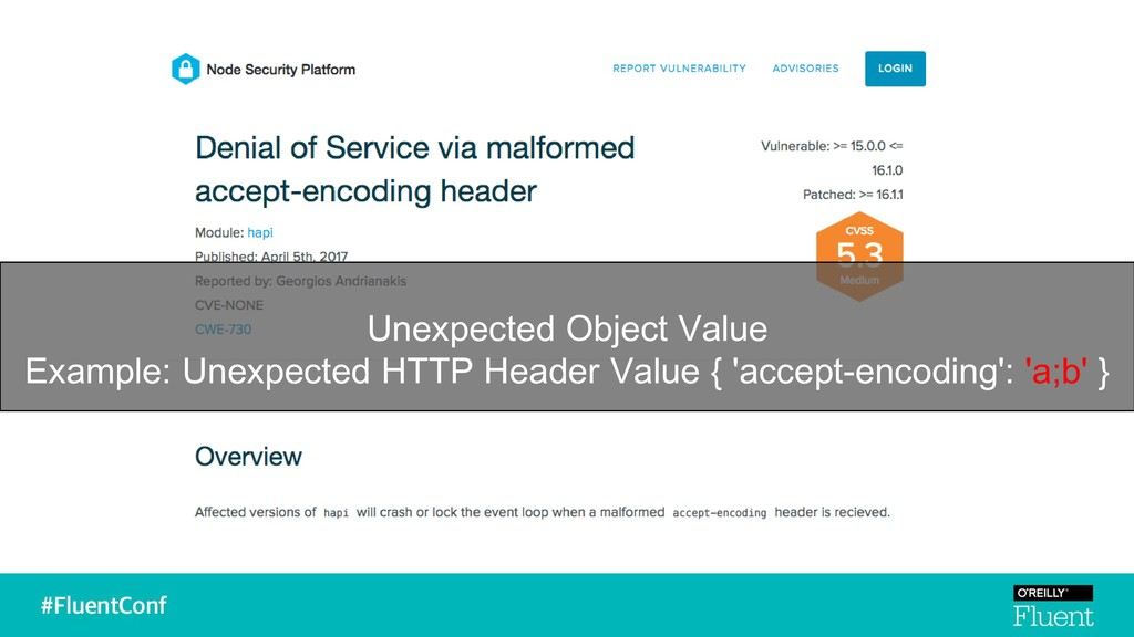 Unexpected Object Value Example: Unexpected HTT...