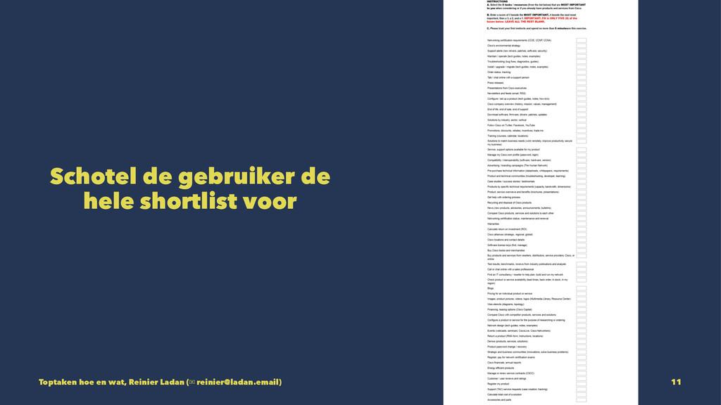 Schotel de gebruiker de hele shortlist voor Top...