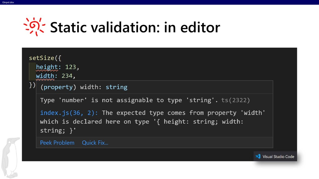 Ginpei.dev Static validation: in editor