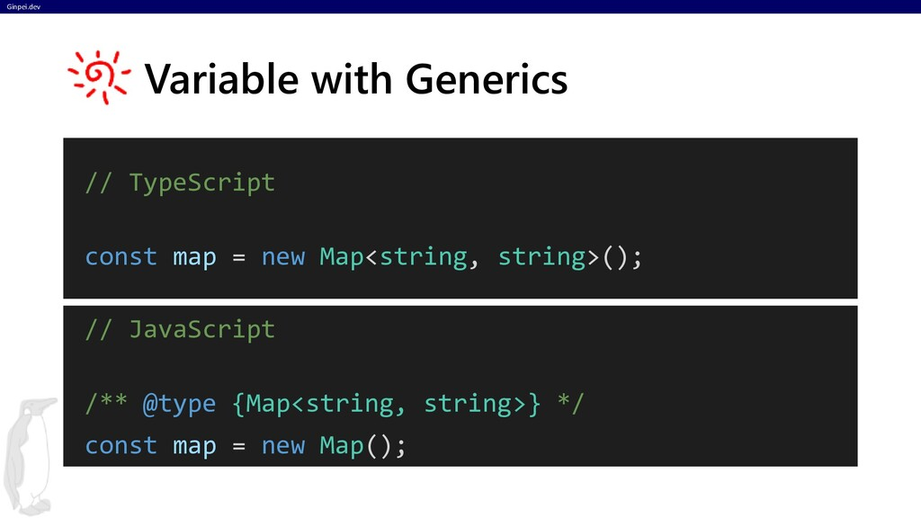 Ginpei.dev // TypeScript const map = new Map<st...