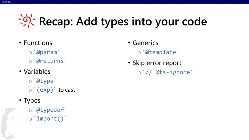 Ginpei.dev Recap: Add types into your code • Fu...
