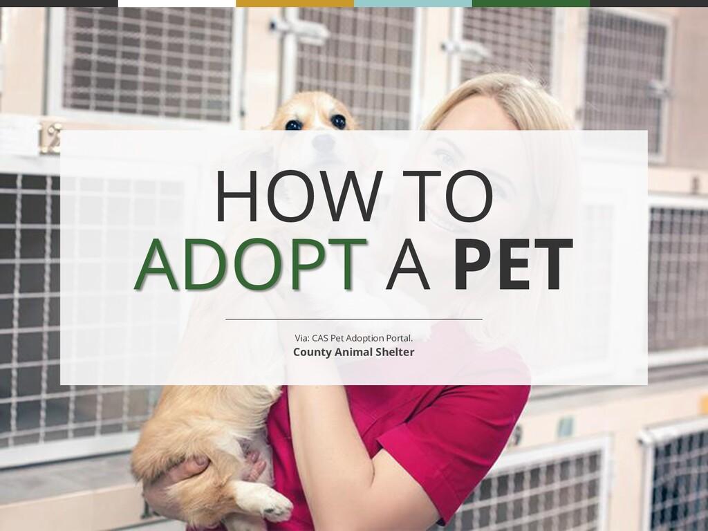 HOW TO ADOPT A PET Via: CAS Pet Adoption Portal...