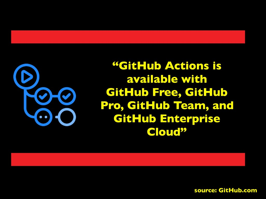 """GitHub Actions is available with GitHub Free, ..."