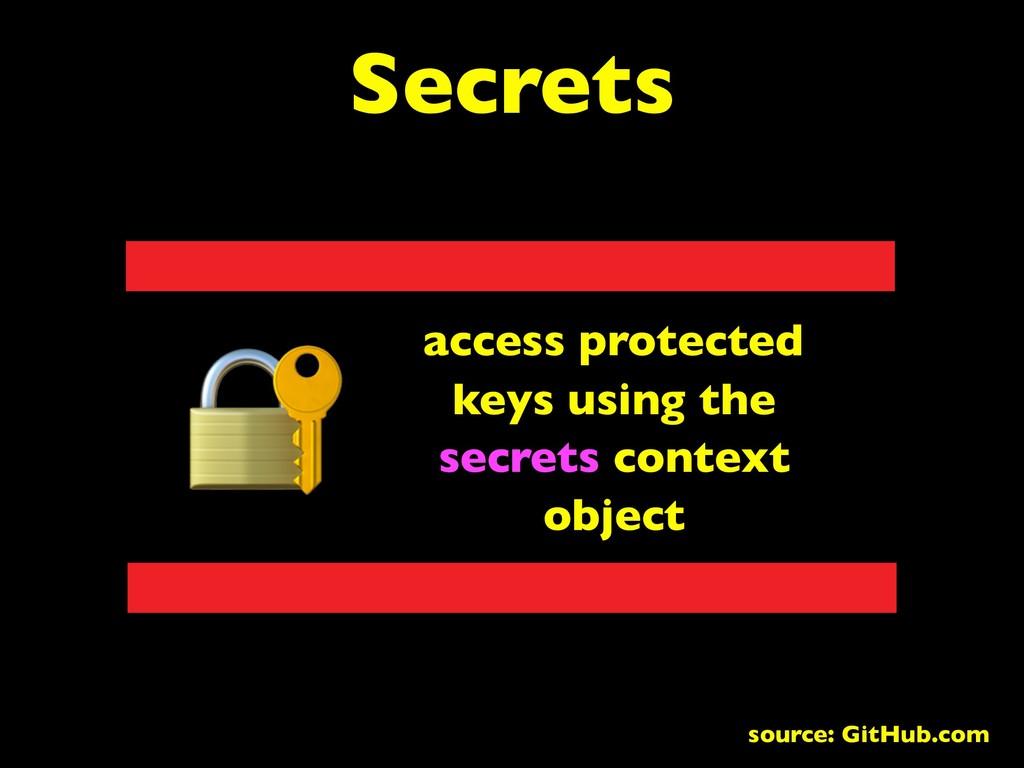 Secrets access protected keys using the secrets...