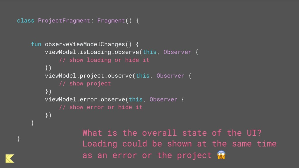 class ProjectFragment: Fragment() { fun observe...