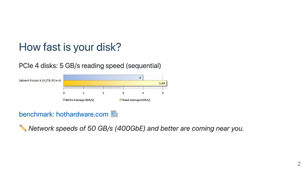 How fast is your disk? PCIe 4 disks: 5 GB/s rea...