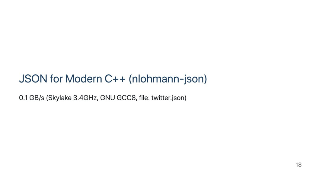 JSON for Modern C++ (nlohmann-json) 0.1 GB/s (S...