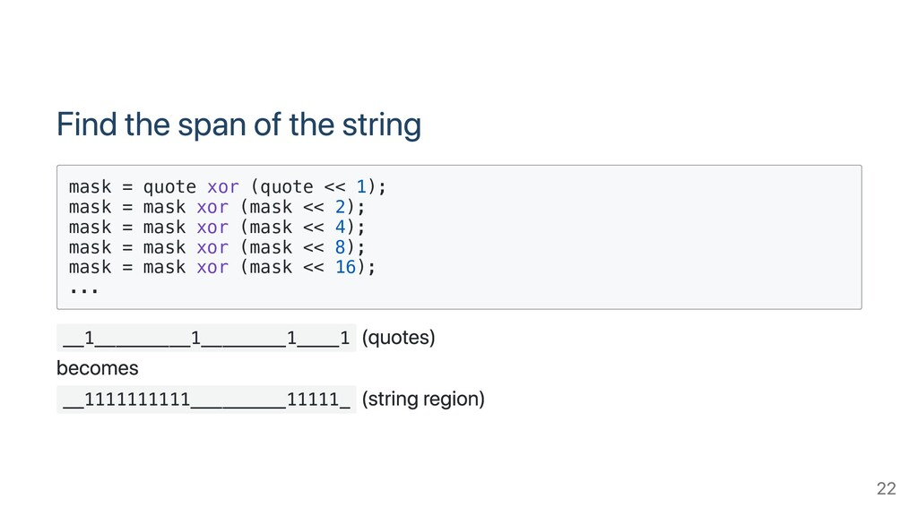 Find the span of the string mask = quote xor (q...