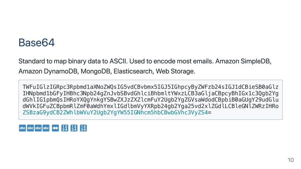 Base64 Standard to map binary data to ASCII. Us...